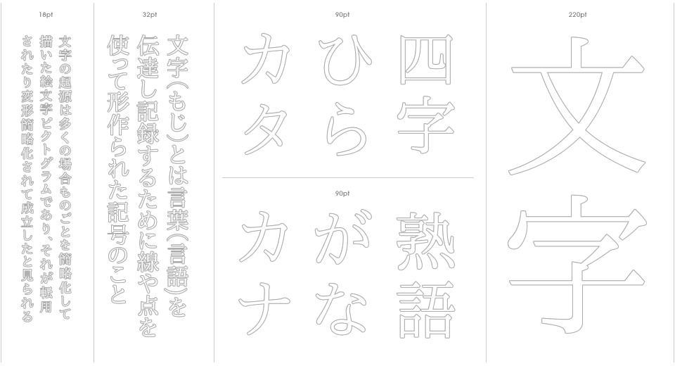 IPA Mincho Stencil Outline
