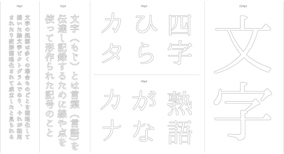 Utsukushi Mincho Stencil Outline