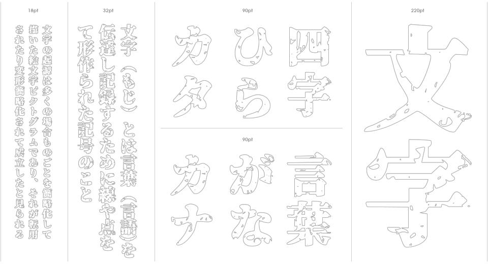 Genkai Mincho Stencil Outline