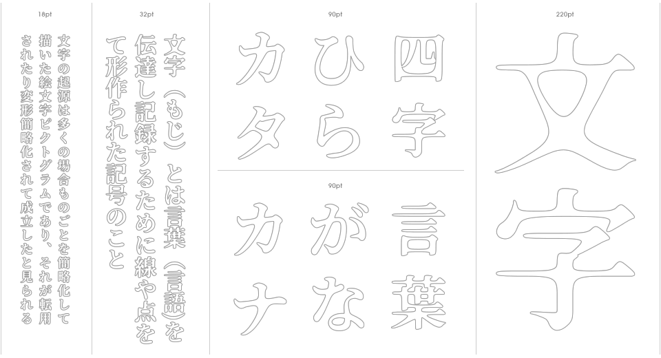 Honou Mincho Stencil Outline