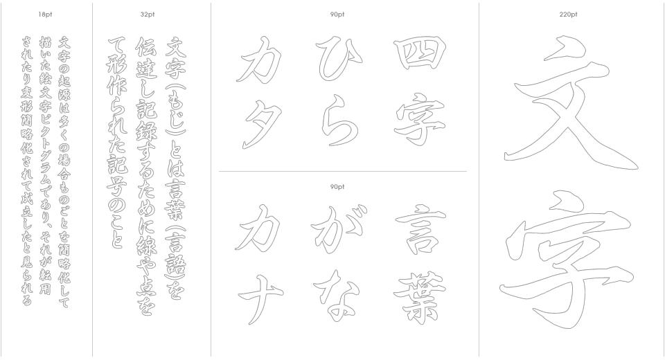 Hiragino Gyosho Stencil Outline